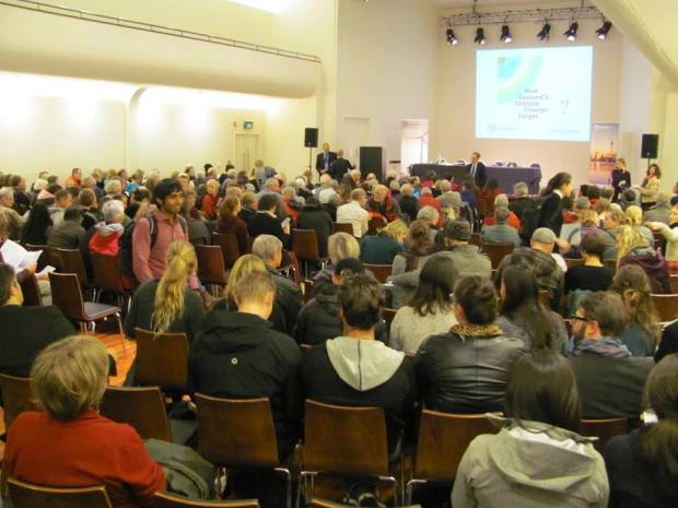 Hundreds attend NZ Ministry for the Environment consultation on Climate Change in Dunedin 21 May at Town Hall.